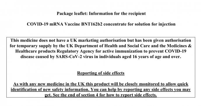 PROSPECTUL VACCINULUI Pfizer BNT162b2