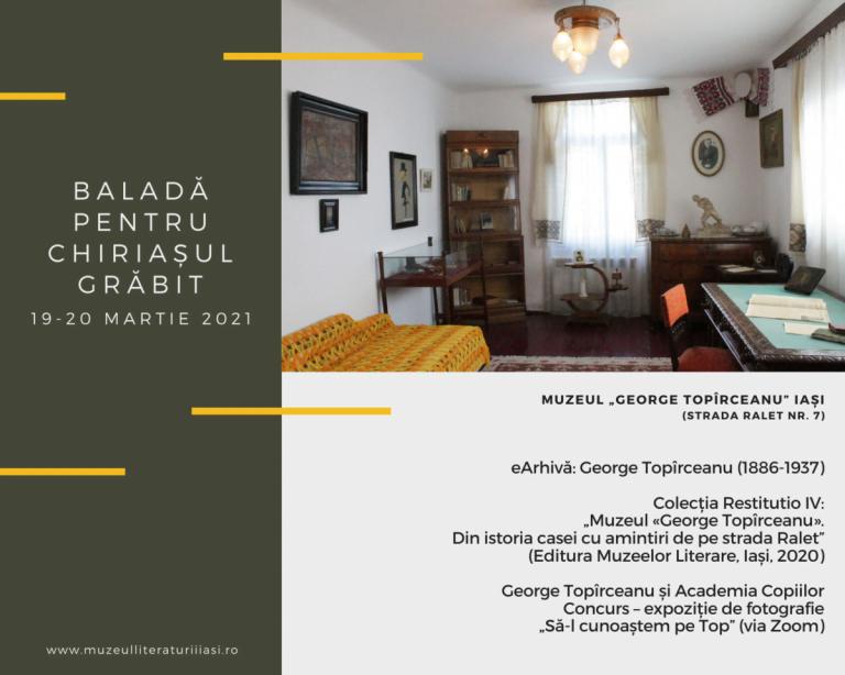 """""""Baladă pentru chiriașul grăbit"""" – eveniment organizat de Muzeul Național al Literaturii Române Iași"""