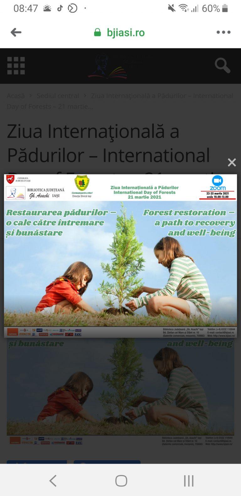 """""""Restaurarea pădurilor – o cale către întremare și bunăstare"""" -Ziua Internațională a Pădurii"""