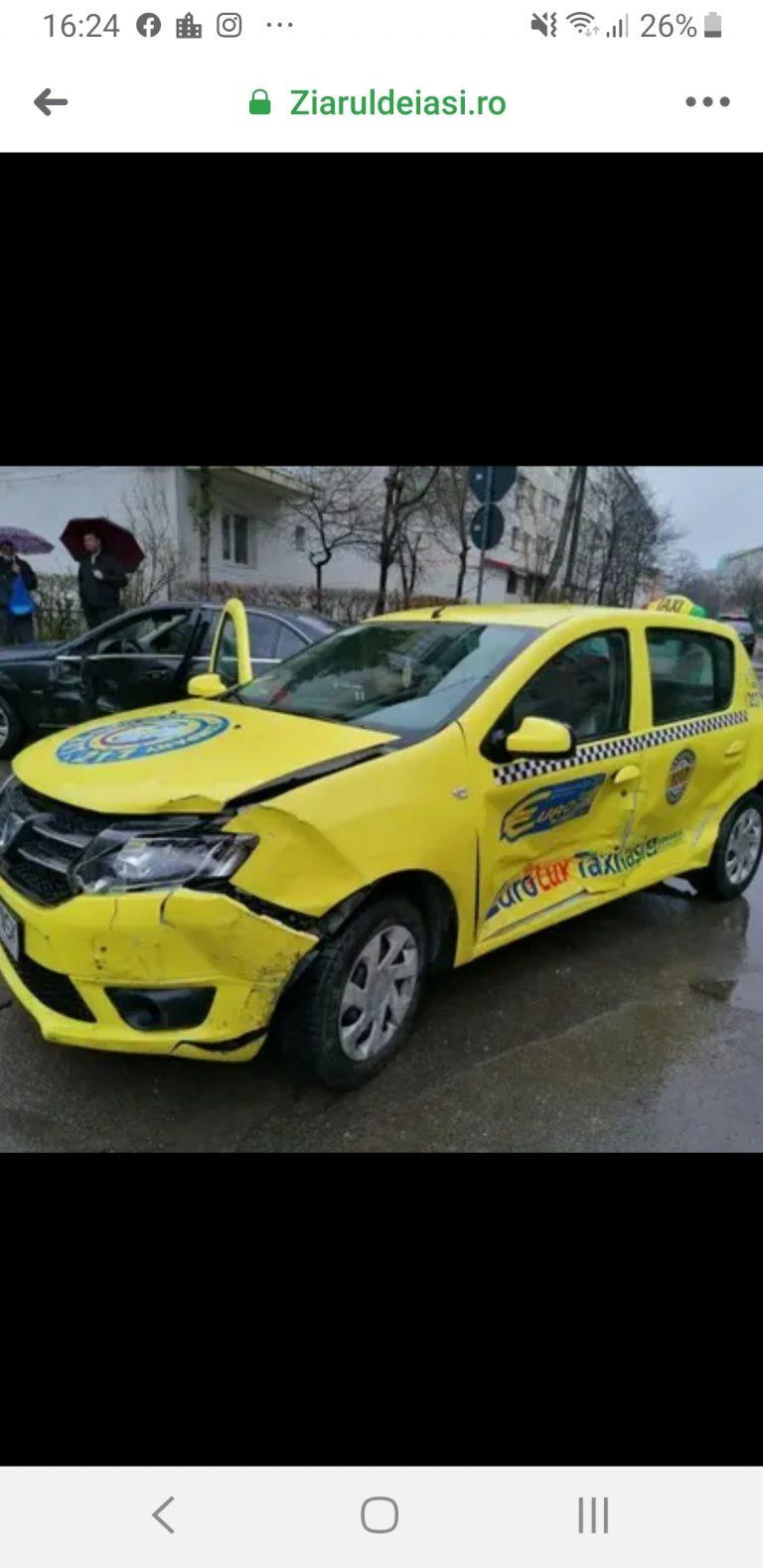 Patru mașini au fost lovite din cauza unui taximetrist care nu a oprit la indicatorul STOP!