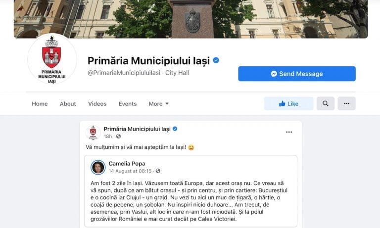 Ieșenii sunt revoltați! Primăria Iași îi mulțumește pe Facebook turistei care a spus că Bucureștiul e o cocină, iar Clujul un grajd