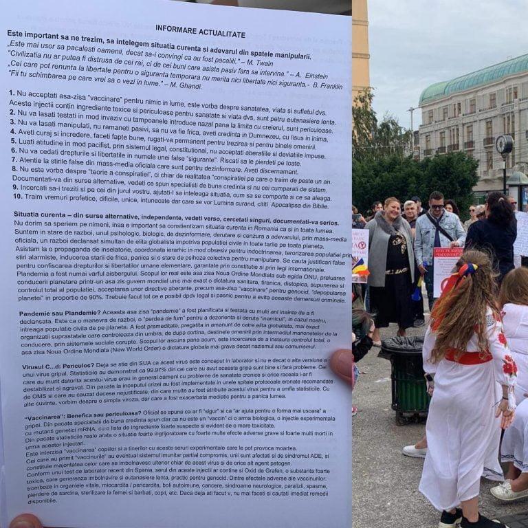 Protest coordonat de Diana Șoșoacă în Piața Unirii, Iași
